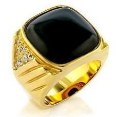 Печатка из желтого золота с бриллиантами и агатом..