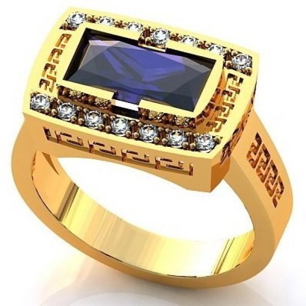 Печатка из желтого золота с бриллиантами и сапфиром