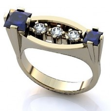 Перстень из белого золота с бриллиантами и сапфирами..