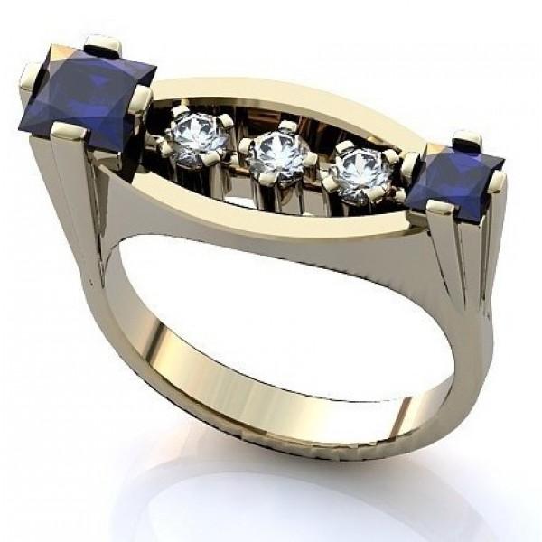 Перстень из белого золота с бриллиантами и сапфирами
