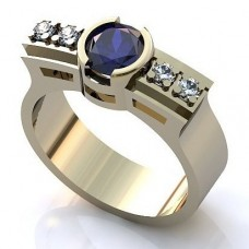 Перстень из белого золота с бриллиантами и сапфиром..