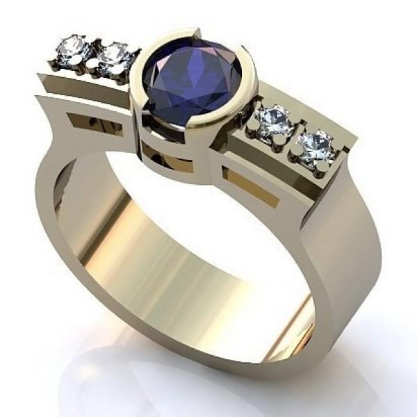 Перстень из белого золота с бриллиантами и сапфиром