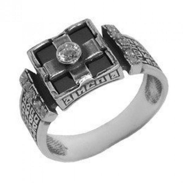Перстень из белого золота с бриллиантом и агатом
