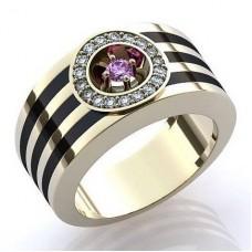 Перстень из белого золота с эмалью, рубином и бриллиантами..