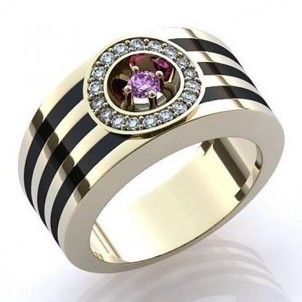 Перстень из белого золота с эмалью, рубином и бриллиантами