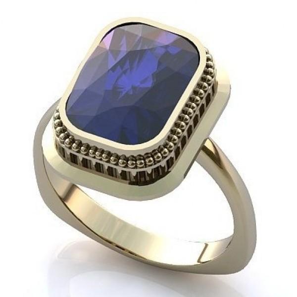Перстень из белого золота с сапфиром