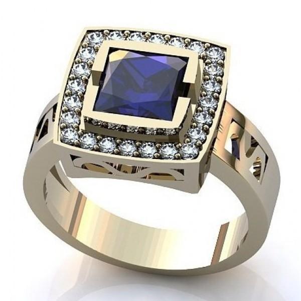 Перстень из белого золота с сапфиром и бриллиантами