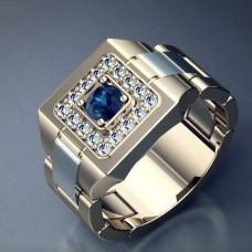 Перстень из белого золота с сапфиром и бриллиантами..