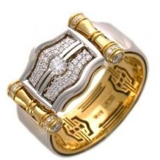 Перстень из комбинированного золота с бриллиантами..