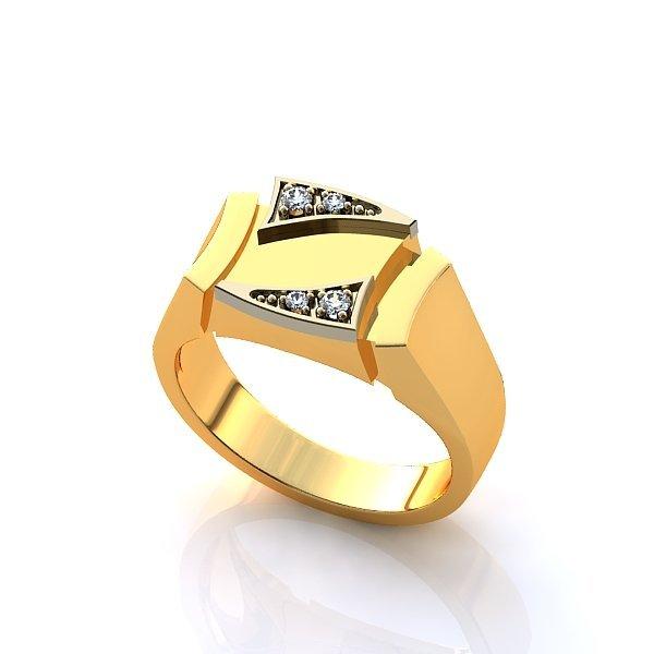 Перстень из комбинированного золота с бриллиантами