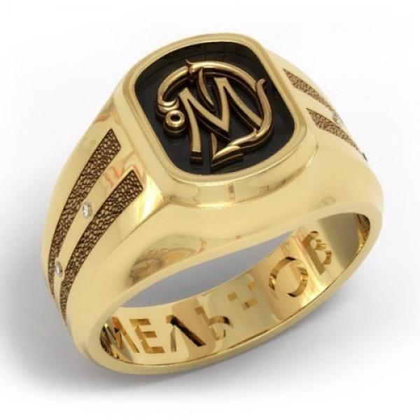 Перстень из комбинированного золота с бриллиантами и черной эмалью