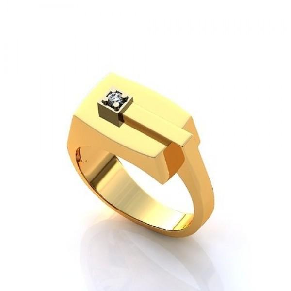 Перстень из комбинированного золота с бриллиантом