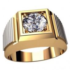 Перстень из комбинированного золота с бриллиантом..