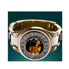 Перстень из комбинированного золота с цитрином и бриллиантами..