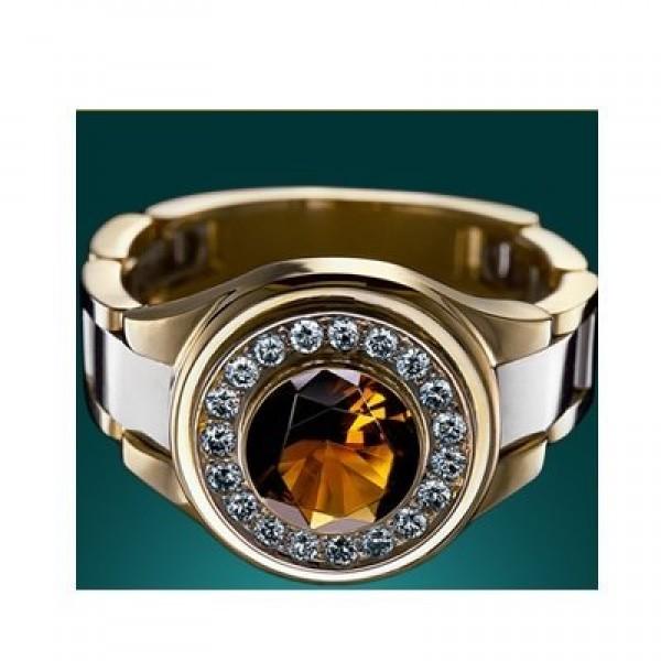 Перстень из комбинированного золота с цитрином и бриллиантами