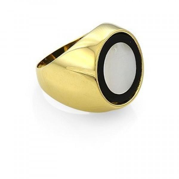 Перстень из комбинированного золота с эмалью