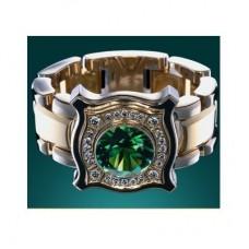 Перстень из комбинированного золота с изумрудом и бриллиантами..