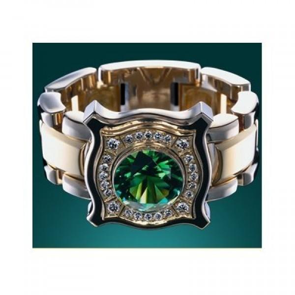 Перстень из комбинированного золота с изумрудом и бриллиантами