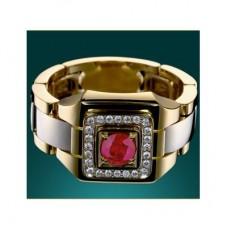 Перстень из комбинированного золота с рубином и бриллиантами..