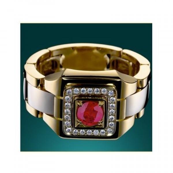 Перстень из комбинированного золота с рубином и бриллиантами