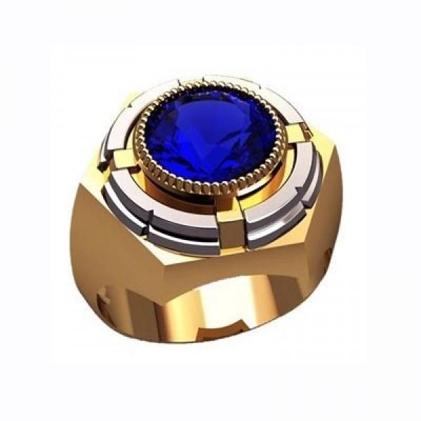 Перстень из комбинированного золота с сапфиром
