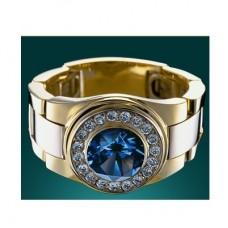 Перстень из комбинированного золота с сапфиром и бриллиантами..