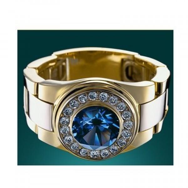 Перстень из комбинированного золота с сапфиром и бриллиантами