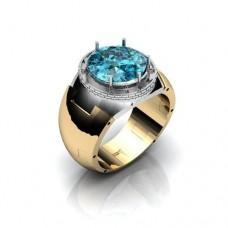 Перстень из комбинированного золота с швейцарским топазом..