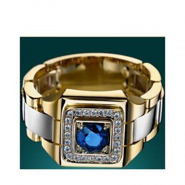 Перстень из комбинированного золота с синим сапфиром и бриллиантами