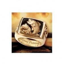 Перстень из красного золота 'Рыба' с эмалью..