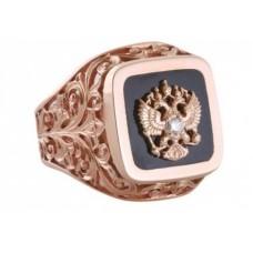 Перстень из красного золота с агатом и бриллиантом...