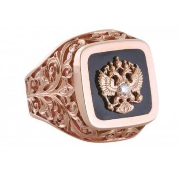 Перстень из красного золота с агатом и бриллиантом.