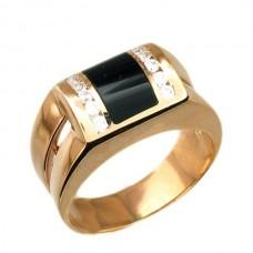 Перстень из красного золота с бриллиантами и черной эмалью..