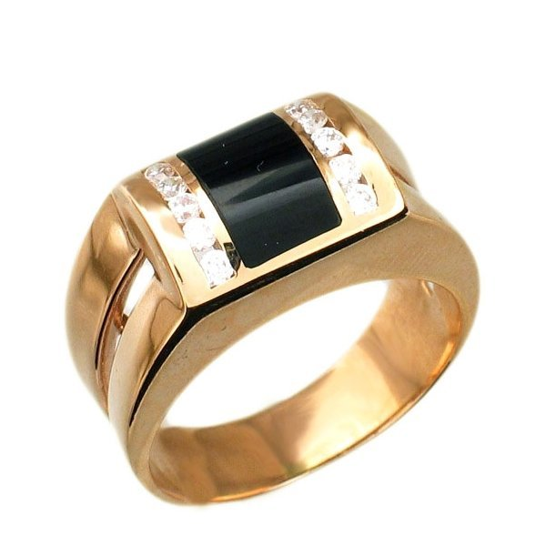 Перстень из красного золота с бриллиантами и черной эмалью