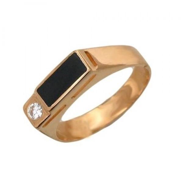 Перстень из красного золота с бриллиантом и черной эмалью