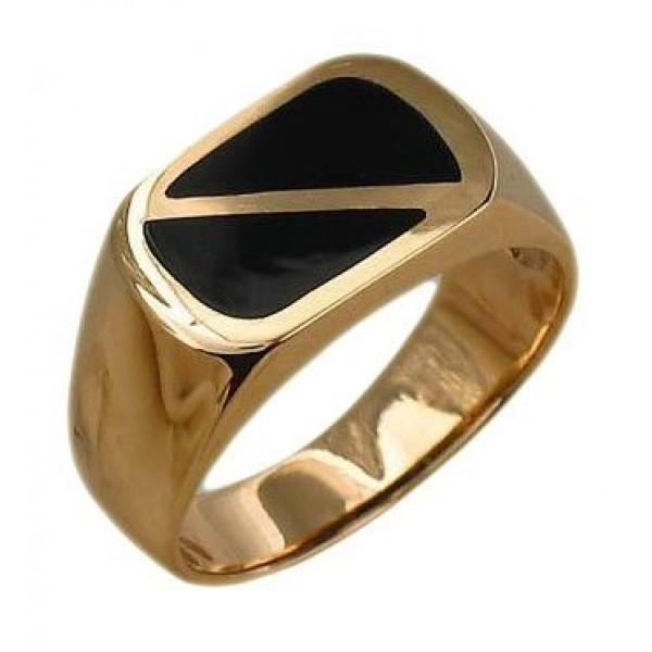 Перстень из красного золота с эмалью