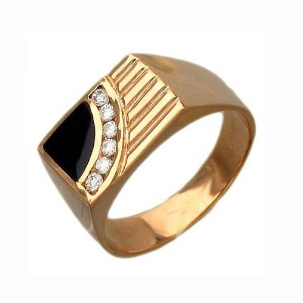 Перстень из желтого золота с бриллиантами и черной эмалью
