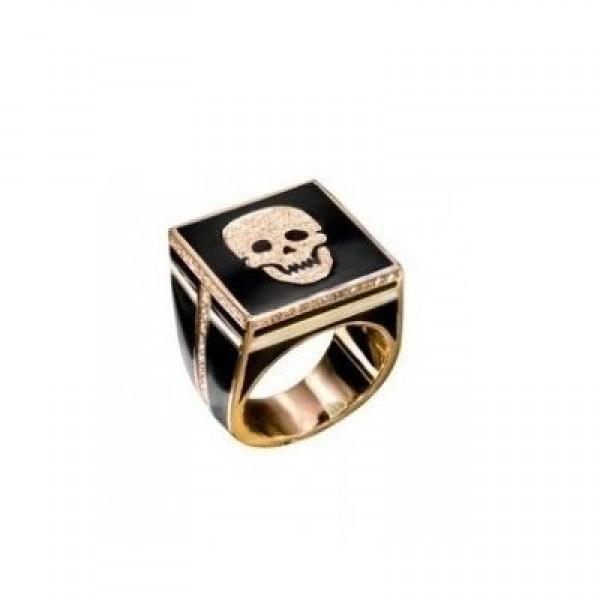 Перстень из желтого золота с бриллиантами и эмалью