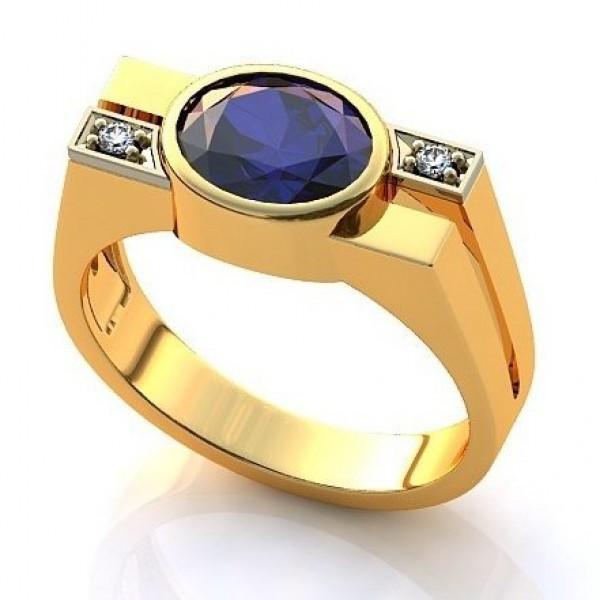 Перстень из желтого золота с бриллиантами и сапфиром
