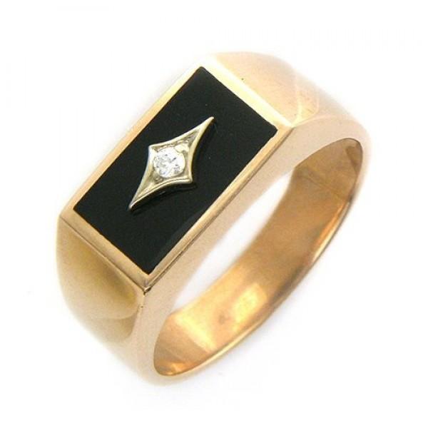 Перстень из желтого золота с бриллиантом и черной эмалью