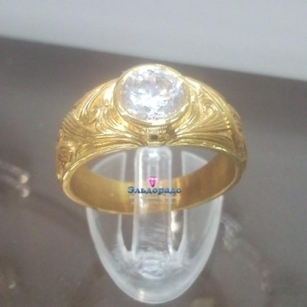 Перстень из желтого золота с бриллиантом в 1ct
