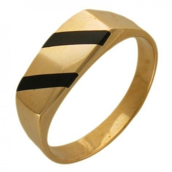 Перстень из желтого золота с эмалью