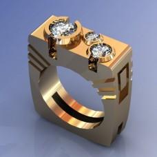 Перстень из желтого золота с крупными бриллиантами..