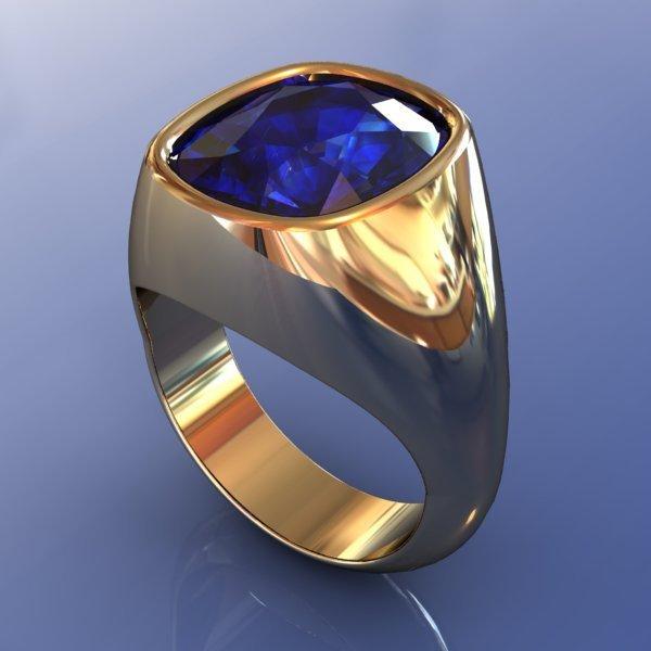 Перстень из желтого золота с сапфиром