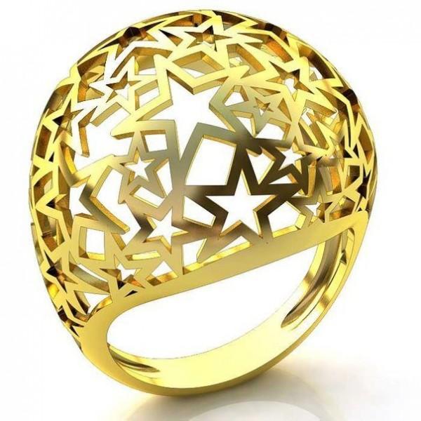 Перстень из желтого золота 'Звездное небо'