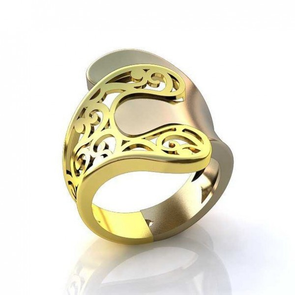 Перстень 'Пазл' из комбинированного золота