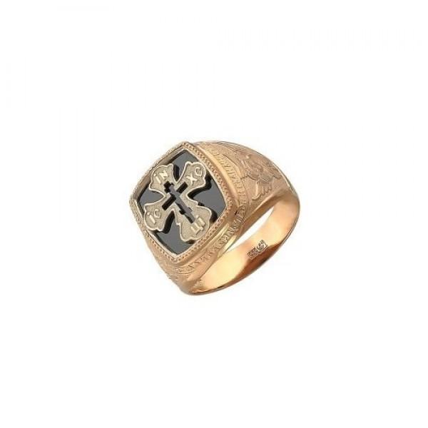 Перстень с распятием из желтого золота с эмалью