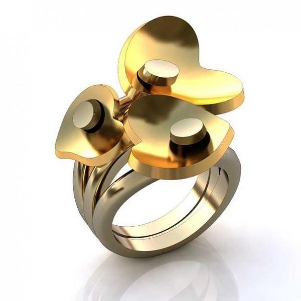 Перстень 'Три сердца' из комбинированного золота