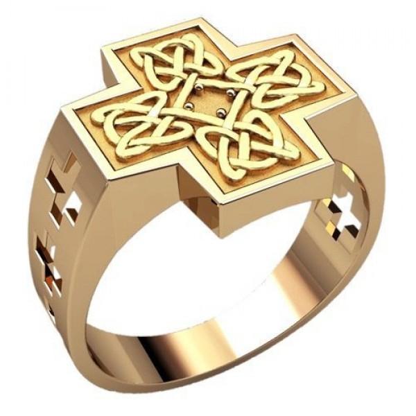 Перстень в форме креста из желтого золота