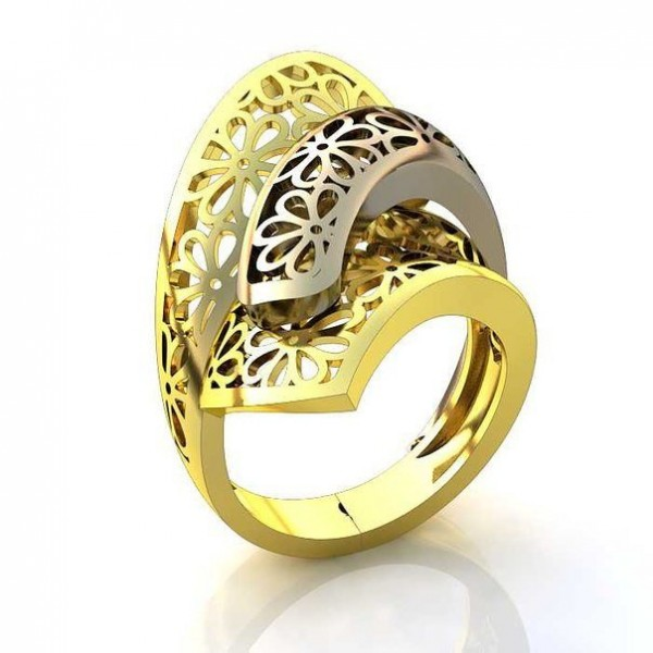 Перстень женский из комбинированного золота